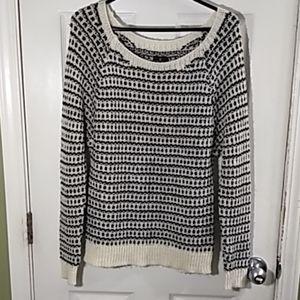 Womens black and white crochet sweater